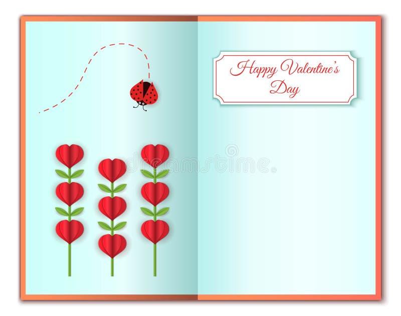 Cartão feliz dos Valentim do dia do amor e do ` s do Valentim Flores da forma do coração e erro da senhora Flores cor-de-rosa bon ilustração do vetor