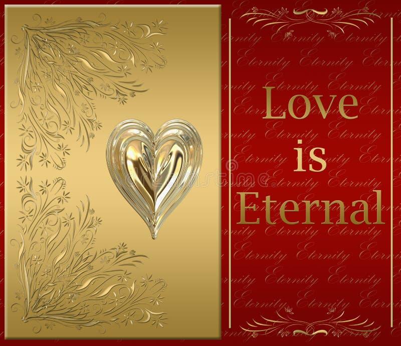 cartão feliz dos Valentim do ouro ilustração royalty free