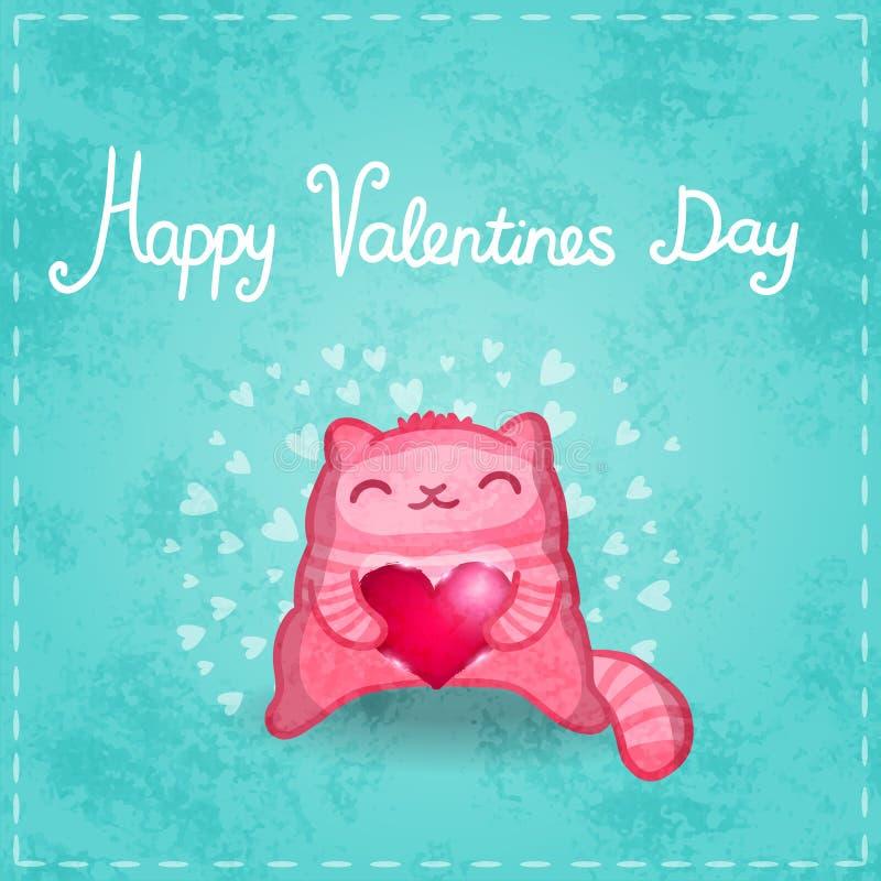 Cartão feliz dos Valentim. Gato bonito com coração. ilustração do vetor