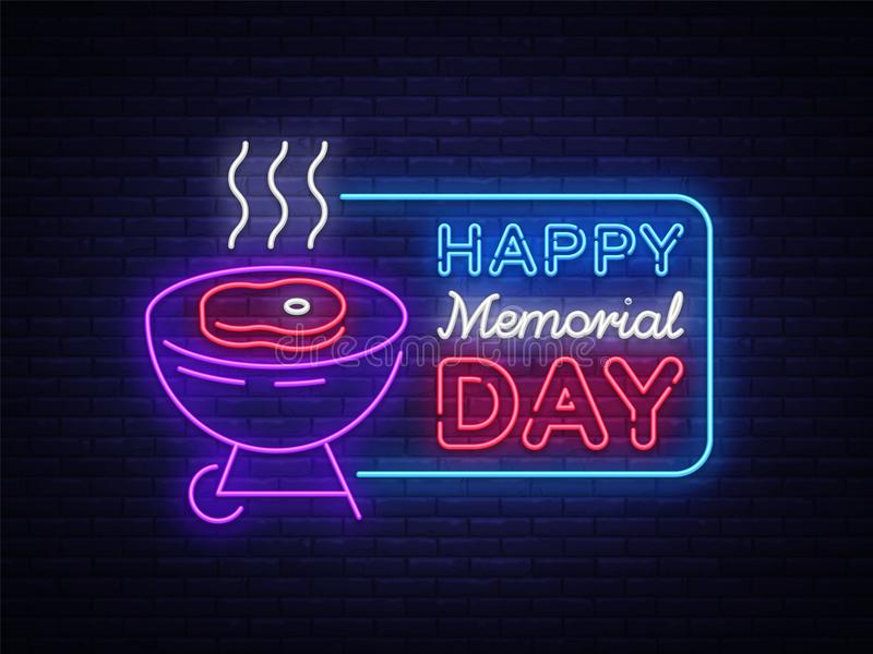Cartão feliz para o sinal de néon de Memorial Day Dia feliz da memória - asse a bandeira do BBQ da grade no estilo de néon ilustração do vetor