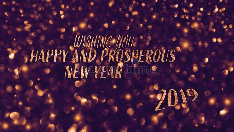 Cartão festivo brilhante dourado do ano novo Fundo de incandescência com estilo do bokeh para cumprimentos sazonais fotos de stock royalty free