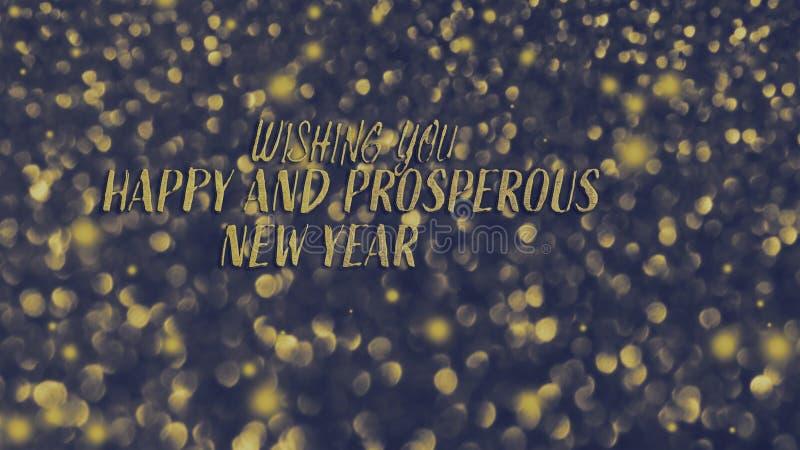 Cartão festivo brilhante dourado do ano novo Fundo de incandescência com estilo do bokeh para cumprimentos sazonais imagens de stock