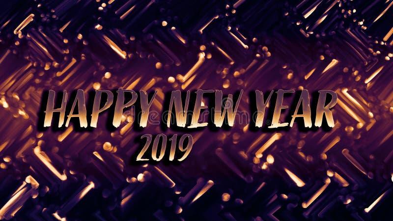 Cartão festivo brilhante dourado do ano novo Fundo de incandescência com estilo do bokeh para cumprimentos sazonais foto de stock royalty free