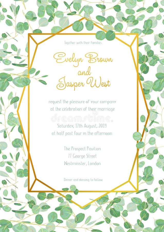 Cartão festivo do convite do casamento com verde sempre-verde do eucalipto ilustração stock