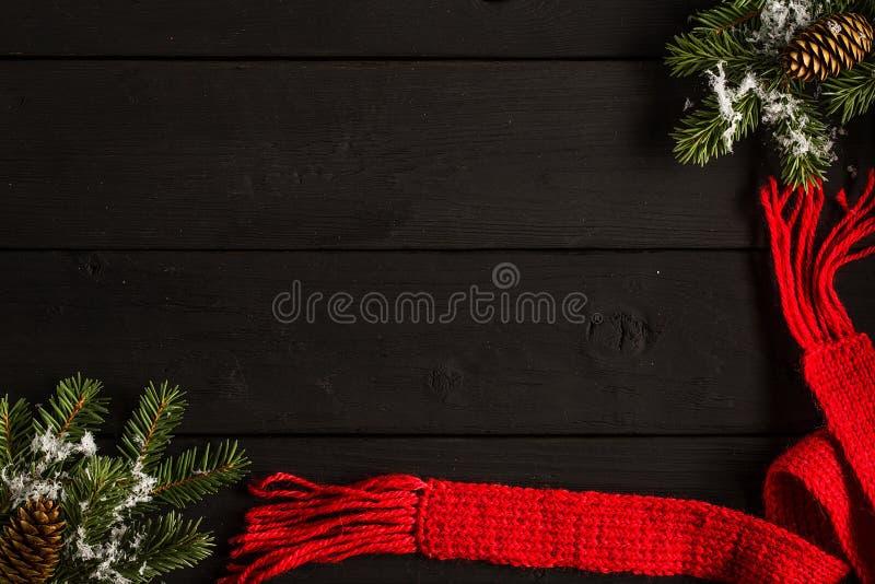 Cartão festivo do Natal ou do ano novo Configuração lisa fotografia de stock royalty free
