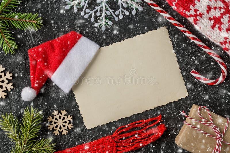 Cartão festivo do Natal ou do ano novo Vista superior fotografia de stock royalty free