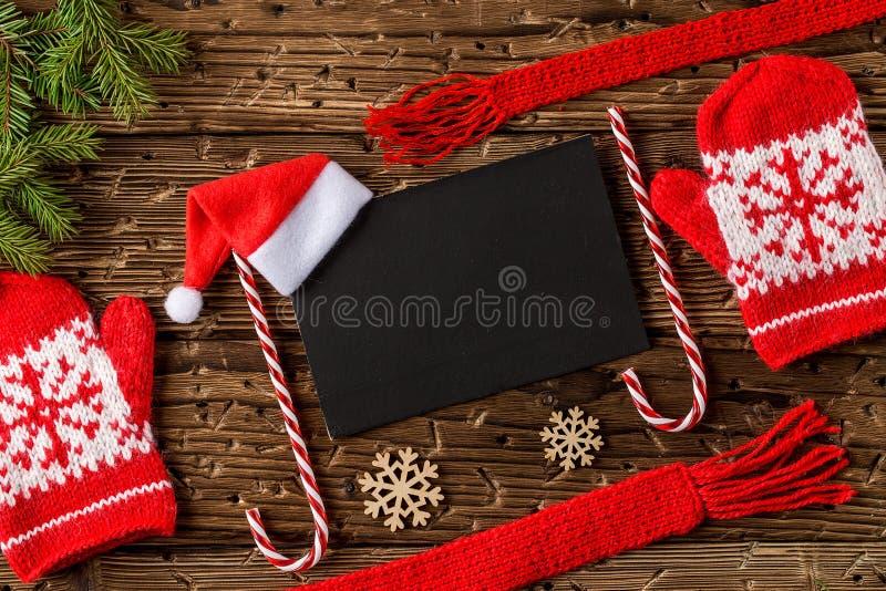 Cartão festivo do Natal ou do ano novo Vista superior, configuração lisa fotografia de stock royalty free