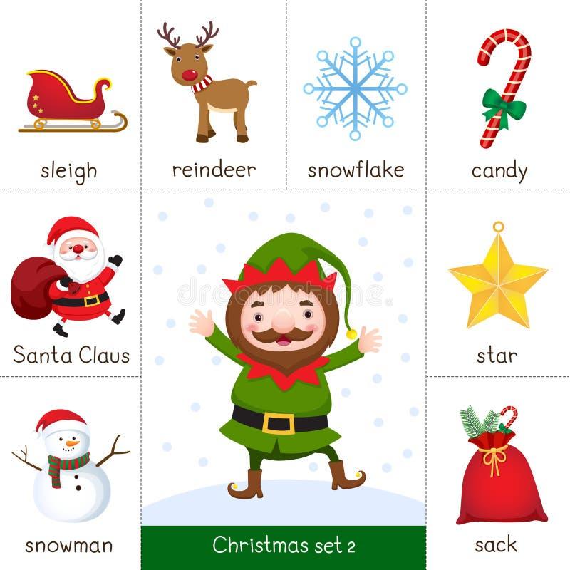 Cartão flash imprimível para o grupo do Natal e o duende do Natal ilustração do vetor