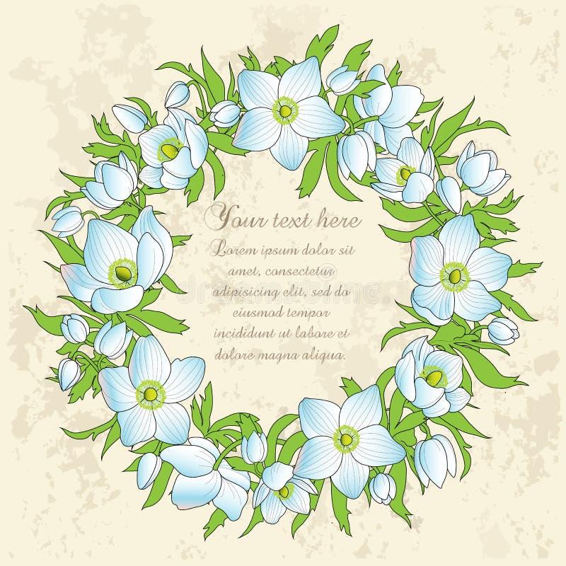 Cartão floral com anêmonas ilustração do vetor