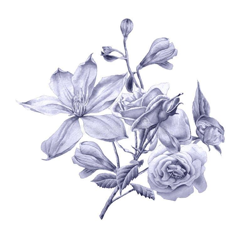 Cartão floral com flores Clematis Rosa Alstroemeria Ilustração da aguarela ilustração royalty free
