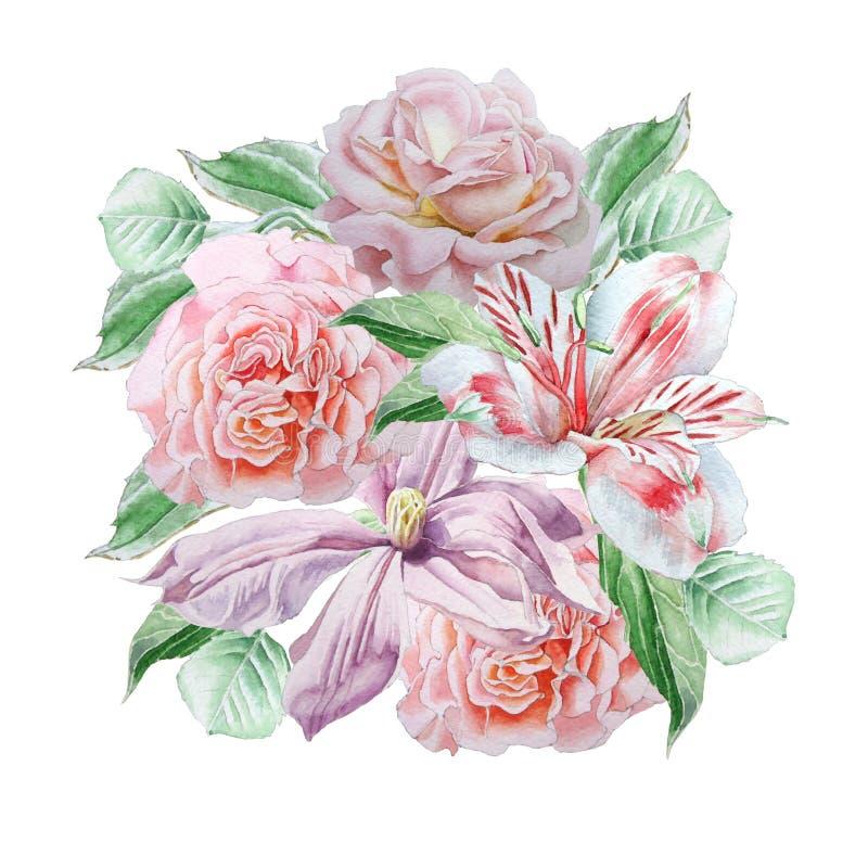 Cartão floral com flores da mola Alstroemeria Rosa Clematis watercolor ilustração stock