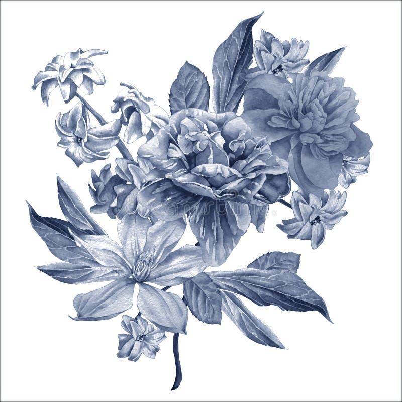 Cartão floral com flores Peônia Clematis Jacinto ilustração stock