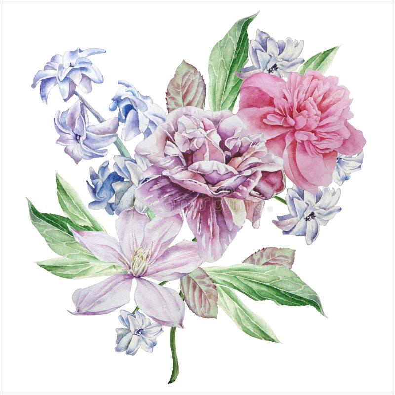Cartão floral com flores Peônia Clematis Jacinto ilustração do vetor