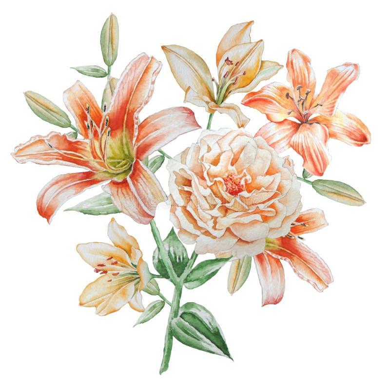 Cartão floral com flores Rosa Lírio Ilustração da aguarela ilustração do vetor