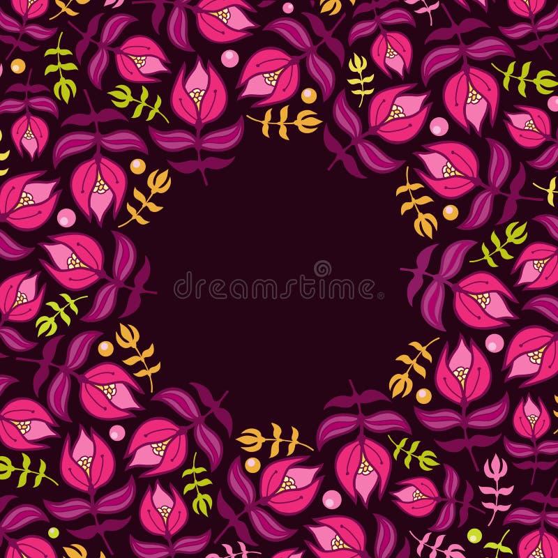 Cartão floral com flores violetas ilustração do vetor