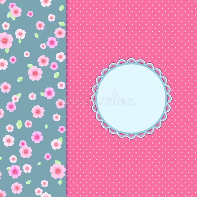 Cartão floral cor-de-rosa do convite do vintage ilustração do vetor