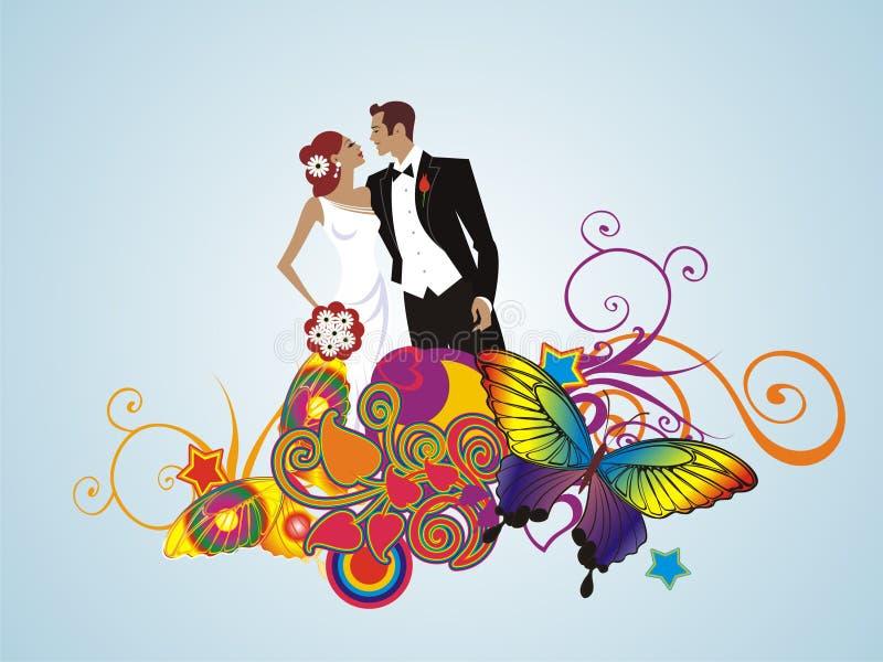 Cartão floral creativo Wedding dos pares ilustração do vetor