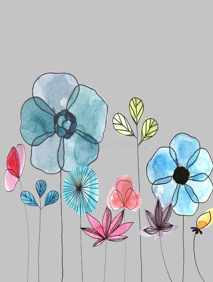 Cartão floral da aquarela ilustração stock