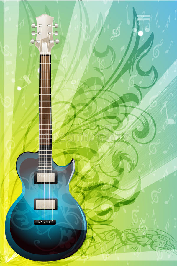 Cartão floral da música ilustração stock
