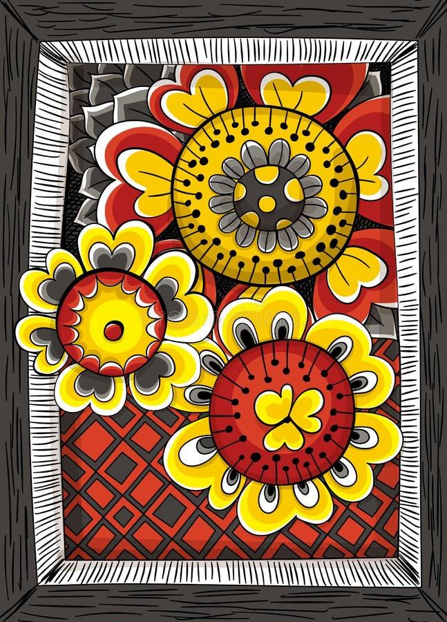 Cartão floral desenhado mão ilustração stock