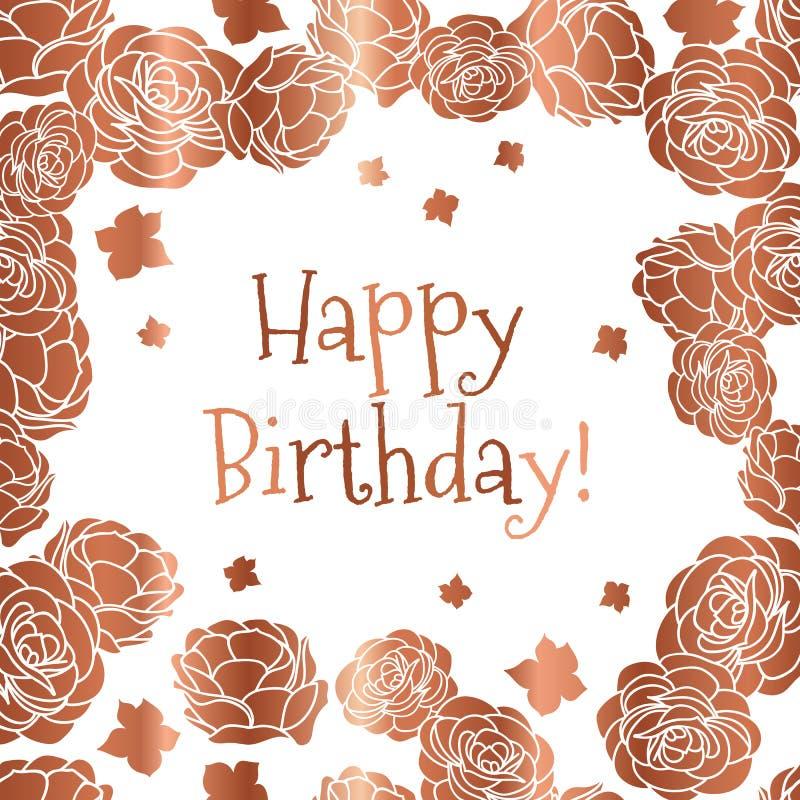 Cartão floral ditsy do vetor do feliz aniversario do jardim de rosas nas cores de cobre e brancas ilustração royalty free
