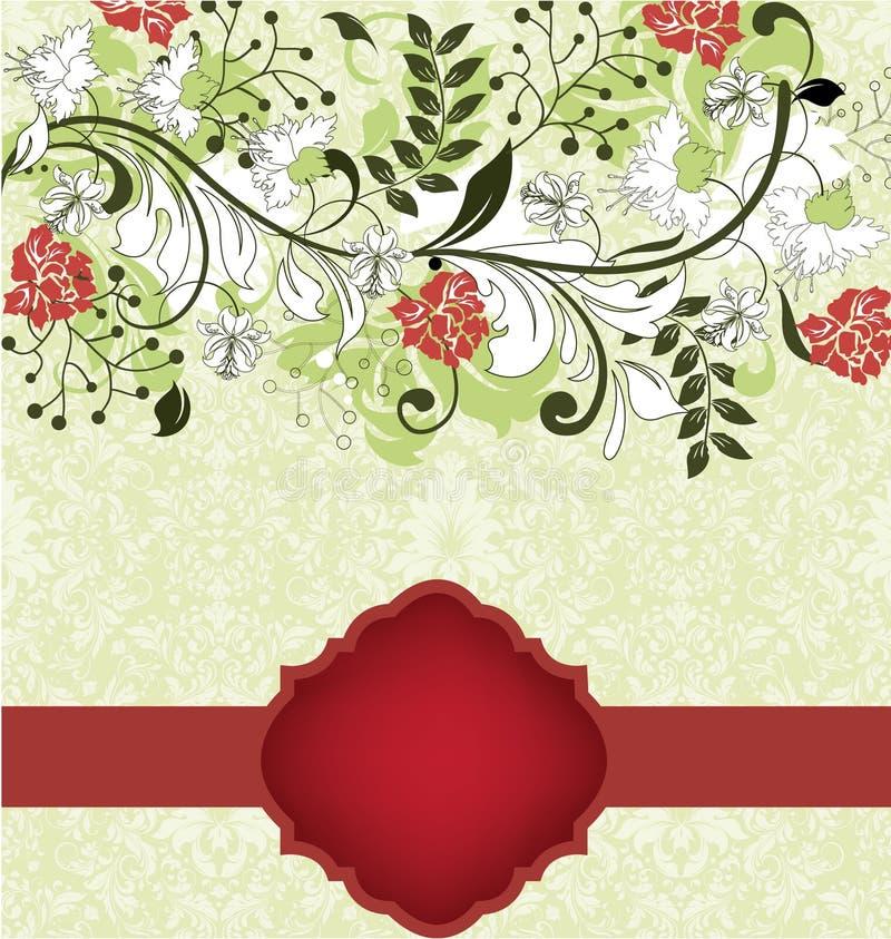 Cartão floral do convite com as flores vermelhas e brancas ilustração stock