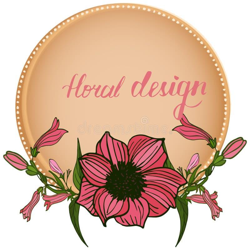 Cartão floral do convite com elementos do design floral ilustração do vetor