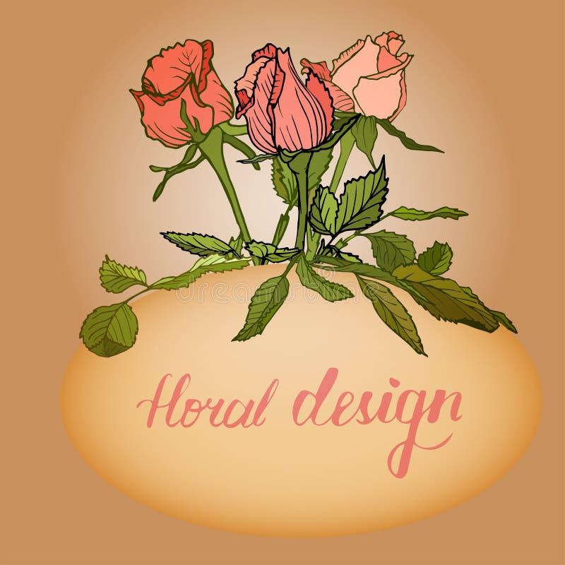 Cartão floral do convite com elementos do design floral ilustração royalty free