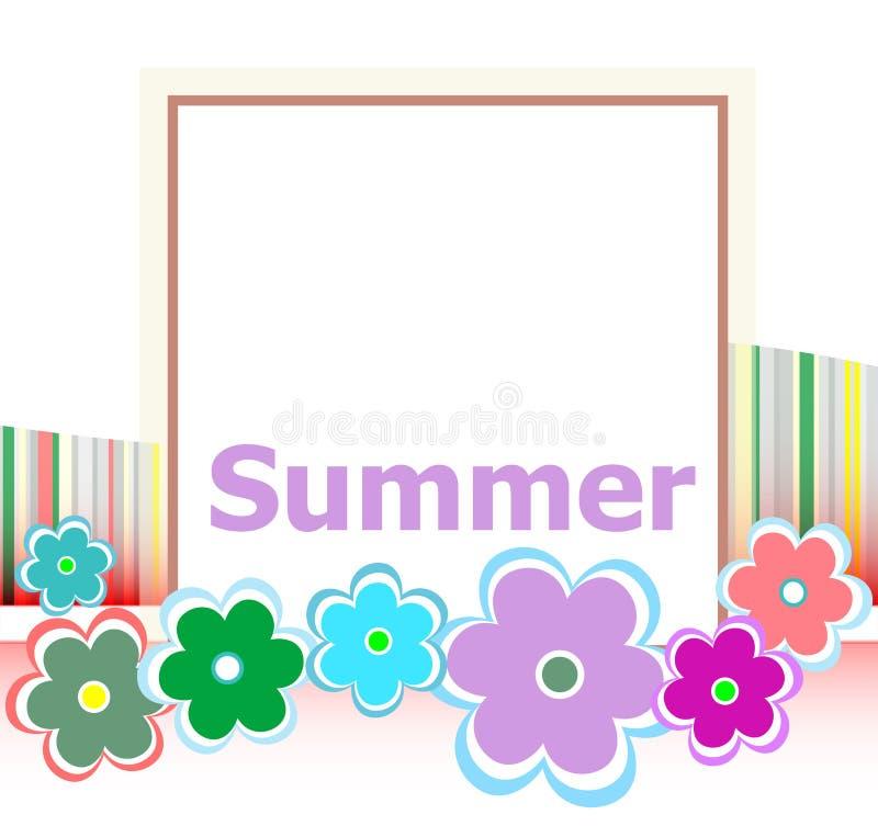 Cartão floral do convite do verão bonito férias de verão, flores e linhas abstratas ajustadas ilustração stock