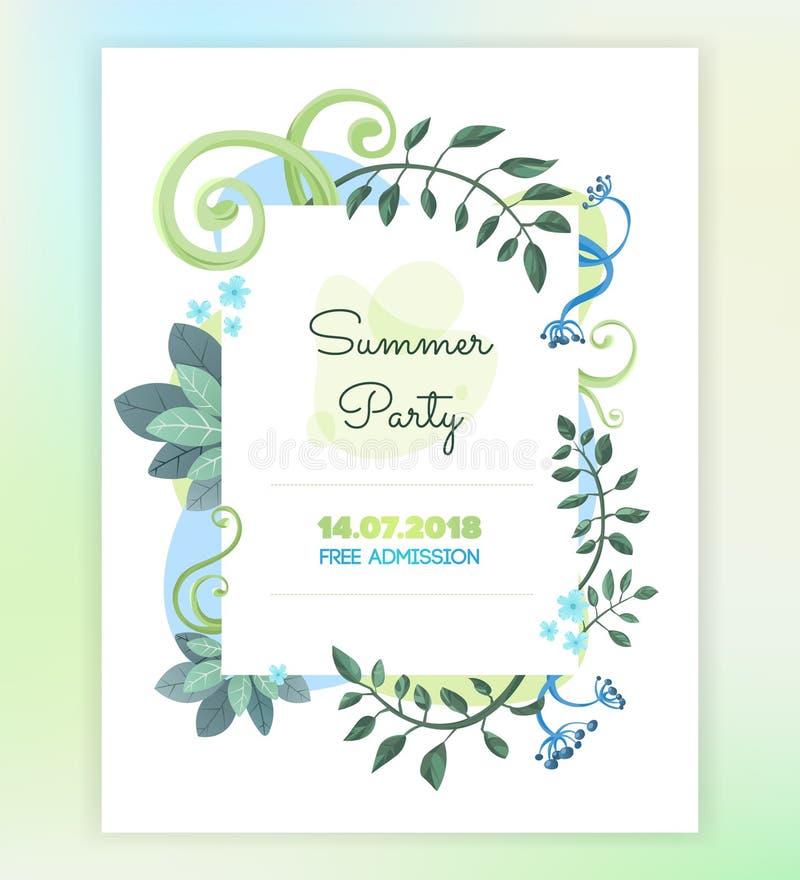Cartão floral do convite do vetor Molde para o cartão da cópia imagens de stock royalty free
