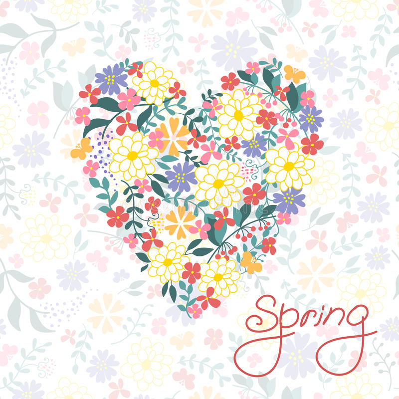 Cartão floral do coração. Flores retros bonitos. ilustração stock