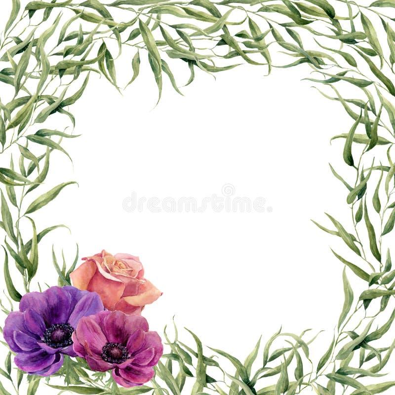 Cartão floral do quadro da aquarela Beira floral pintado à mão com os ramos, as folhas e as flores isolados no fundo branco para  ilustração stock