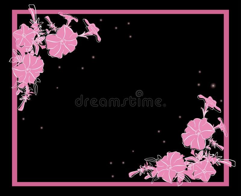 Cartão floral do vetor com decorações cor-de-rosa ilustração stock
