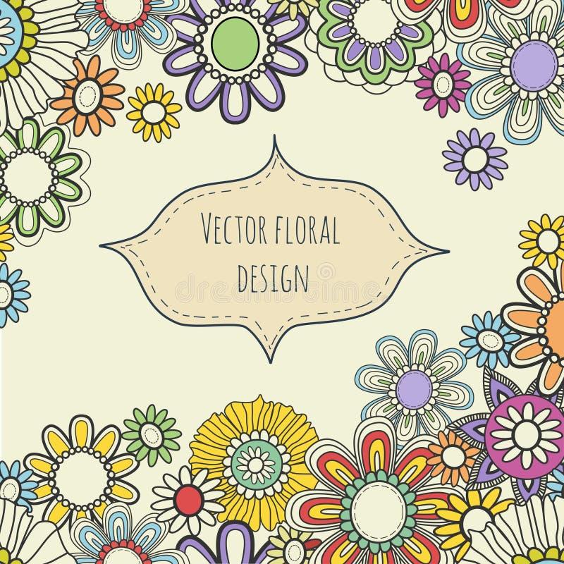 Cartão floral do vetor Fundo do verão em cores brilhantes ilustração royalty free