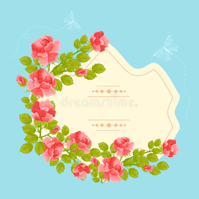Cartão floral do vintage ilustração do vetor