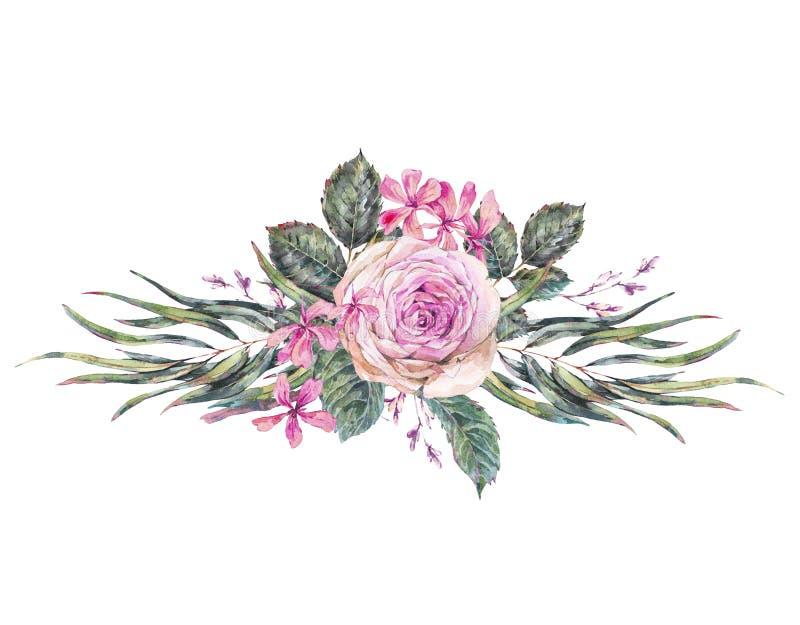 Cartão floral do vintage da aquarela com rosas e os wildflowers cor-de-rosa ilustração royalty free