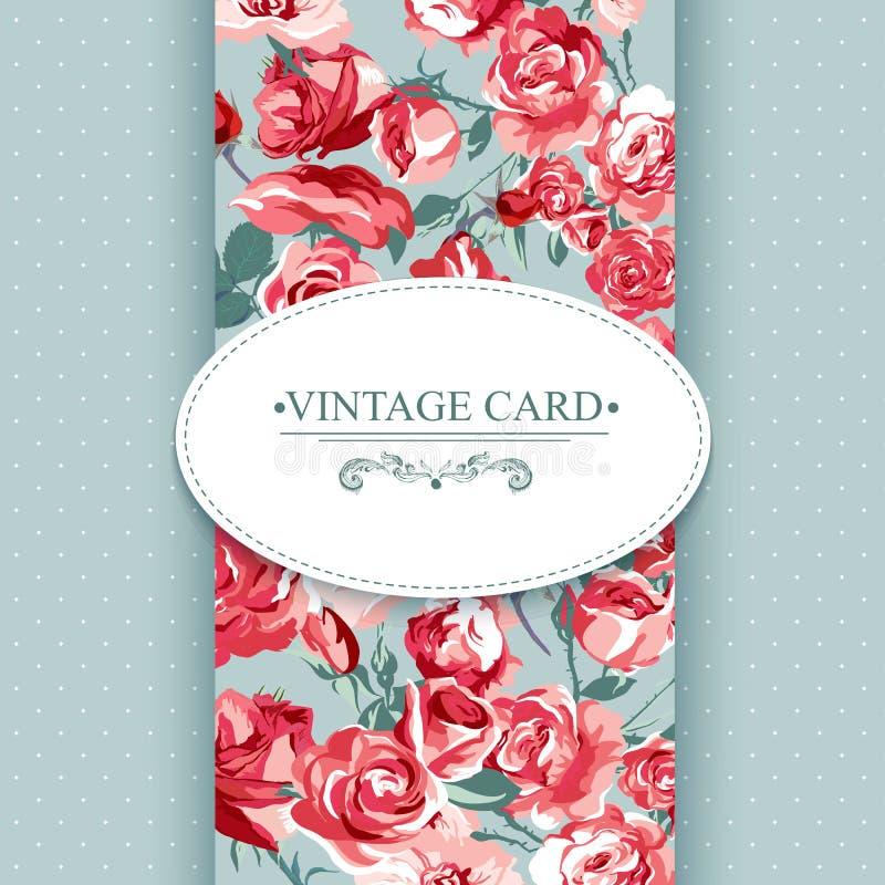 Cartão floral do vintage da elegância com rosas ilustração royalty free