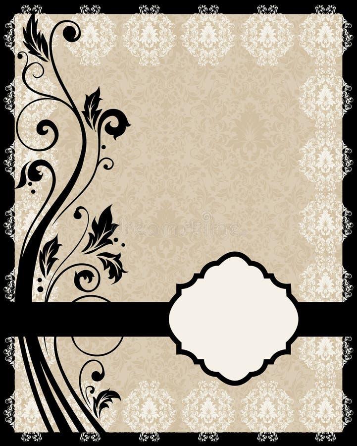 Cartão floral do vintage de Brown ilustração stock