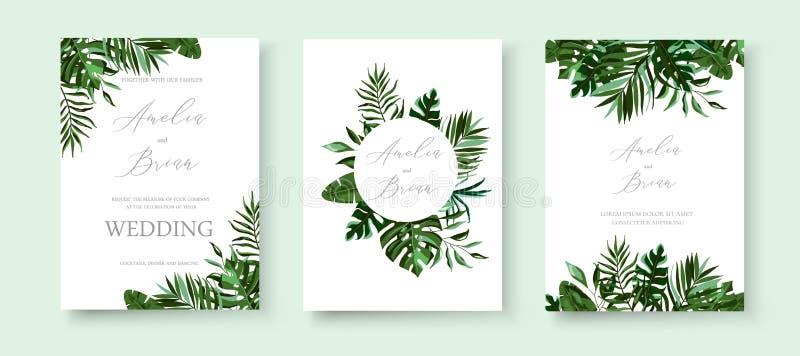 Cartão floral exótico tropical do convite das hortaliças do casamento salvo o projeto da data ilustração stock