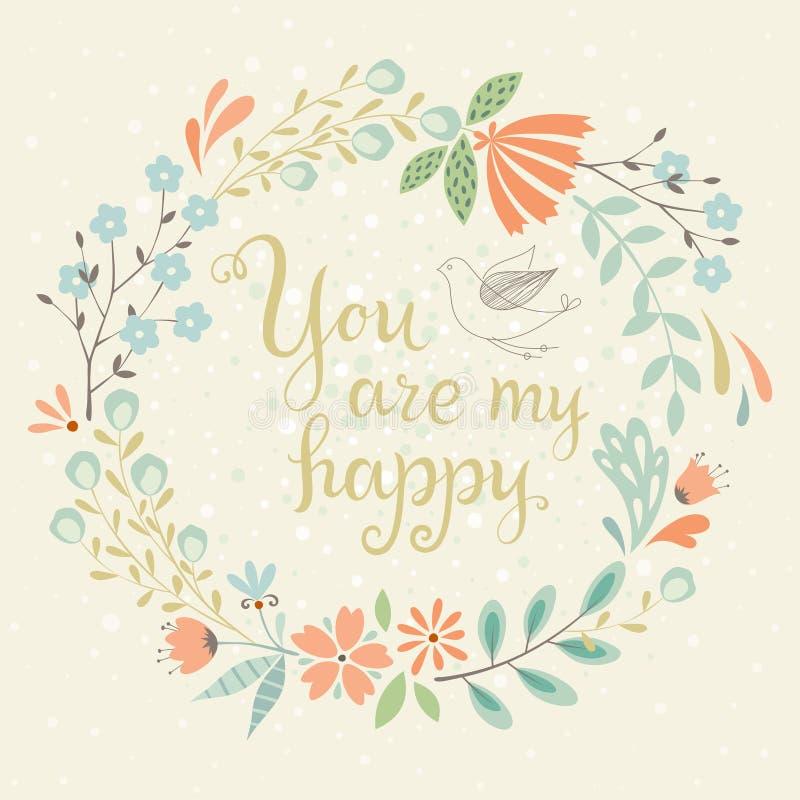 Cartão floral feliz ilustração do vetor