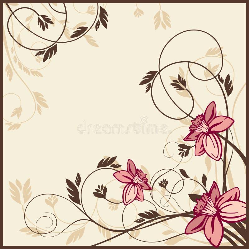 Cartão floral retro ilustração royalty free