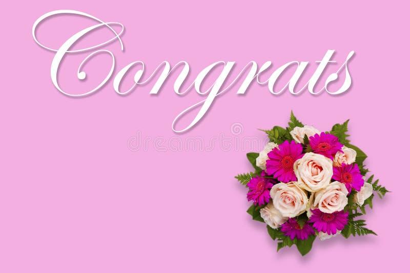 Cartão floral romântico de Congrats com ramalhete da flor ilustração stock
