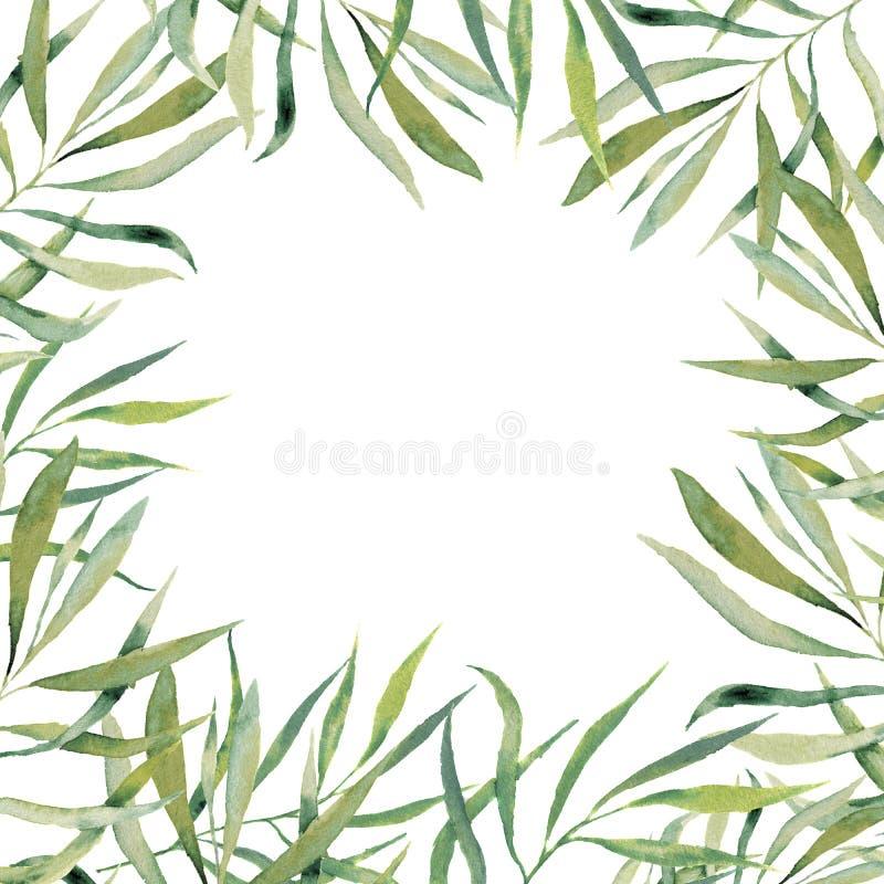 Cartão floral verde do quadro da aquarela Beira pintado à mão com sutiã ilustração stock