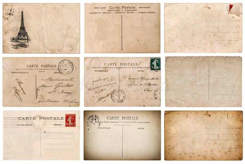 Cartão francês antigo com selo de Paris imagens de stock royalty free