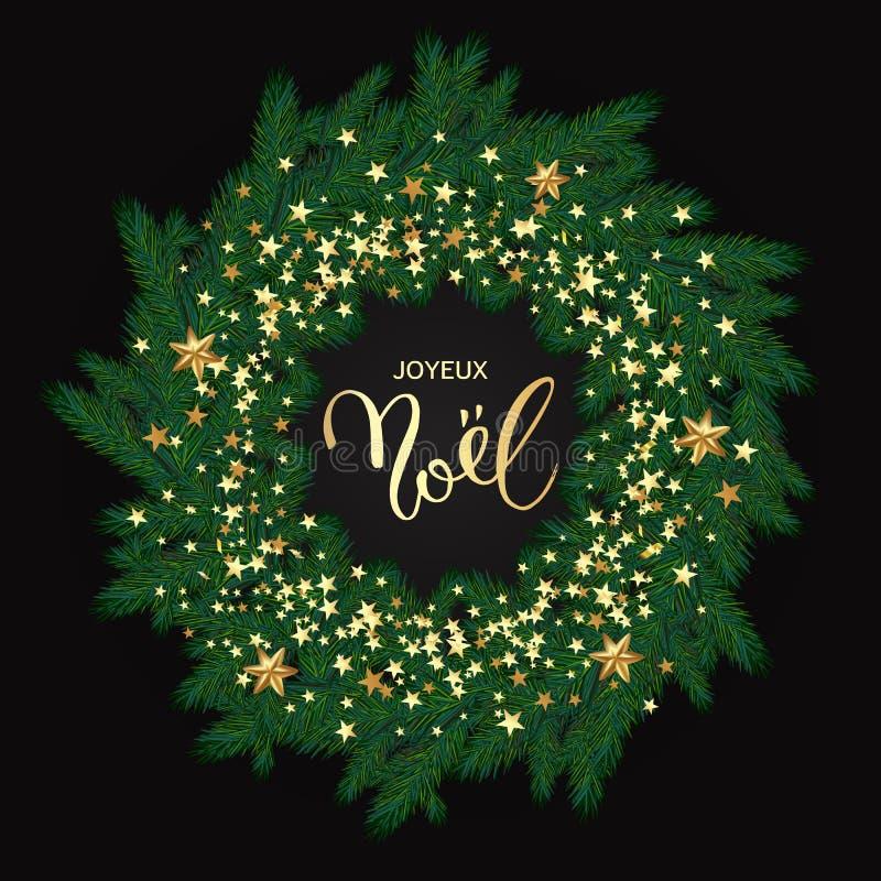 Cartão francês de Joyeux Noel do Feliz Natal com a grinalda louca ilustração stock