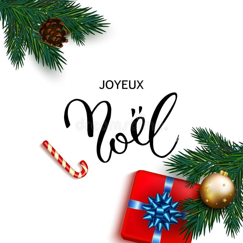 Cartão francês de Joyeux Noel do Feliz Natal com presentes da caixa ilustração do vetor