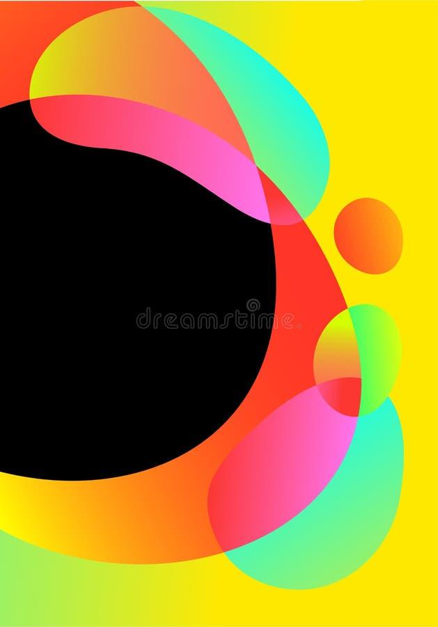 Cartão futurista do sumário do vetor, fundo líquido das formas do inclinação brilhante Elementos fluidos ondulados geométricos no ilustração stock