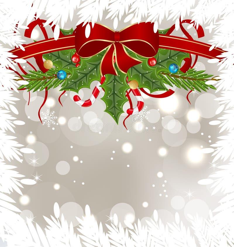 Cartão gelado do Natal com decoração do feriado ilustração do vetor