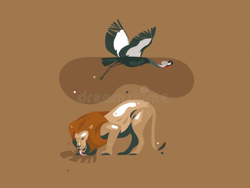 Cartão gráfico moderno tirado mão da arte das ilustrações da colagem do conceito de Safari Nature do africano dos desenhos animad ilustração stock