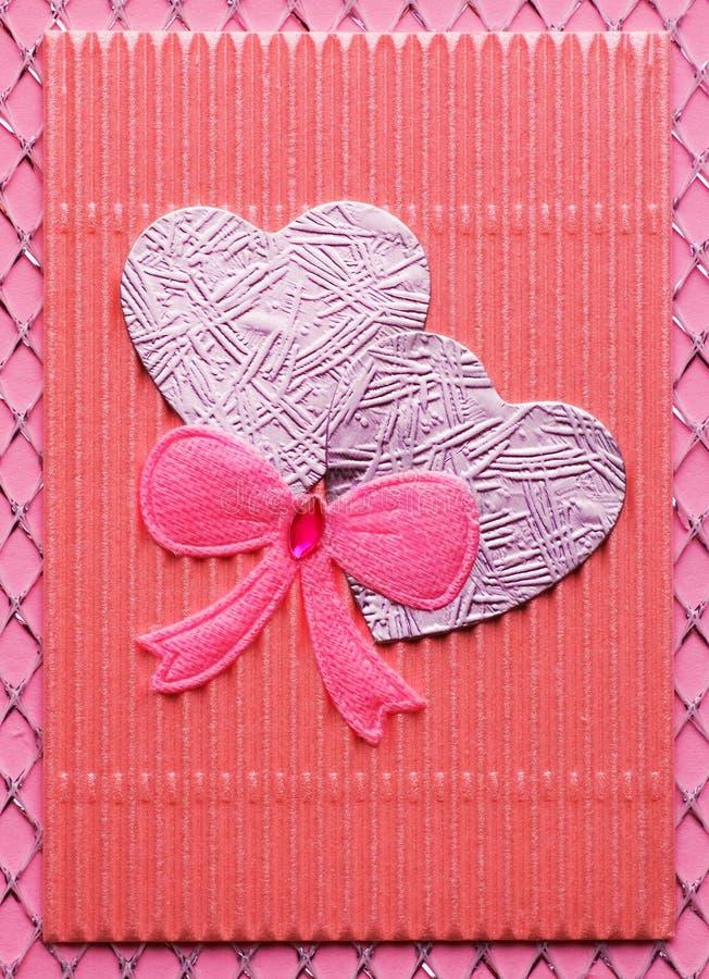 Cartão Handmade do Valentim foto de stock